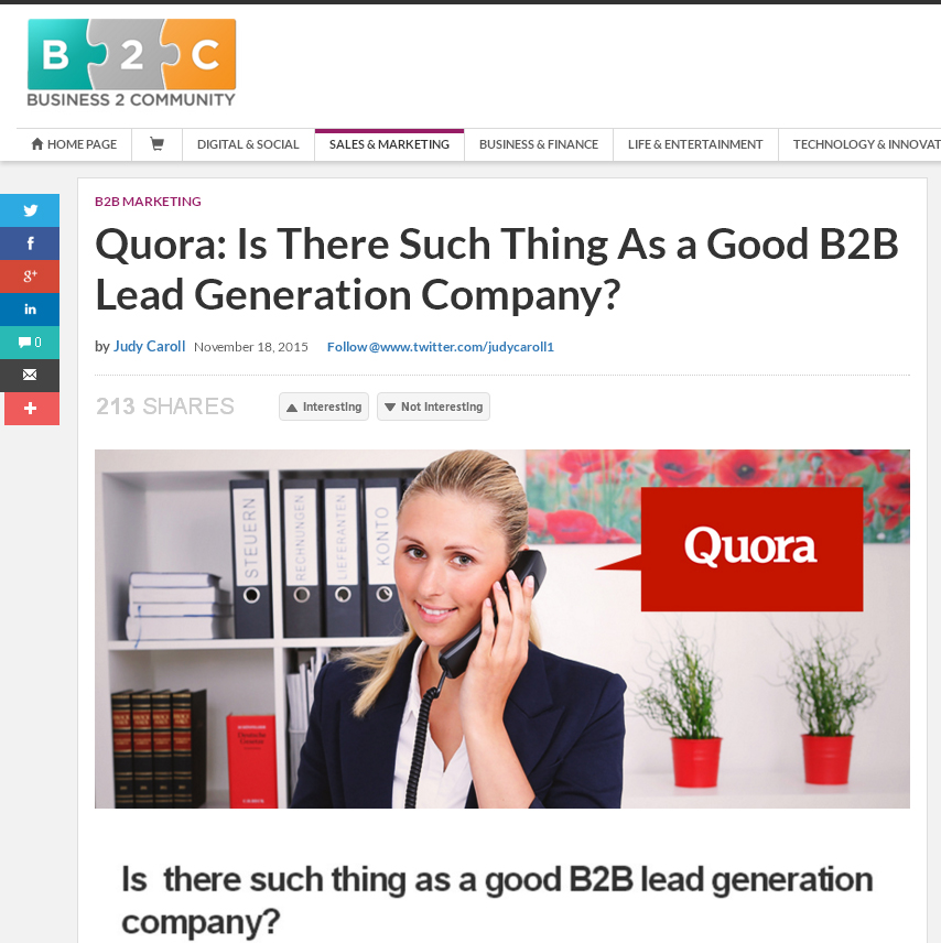 Quora: Is There Such Thing As a Good B2B Lead Generation Company?